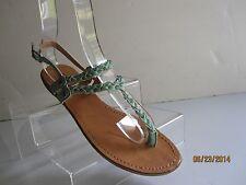 ZIGI GIRL PEWTER THONG Gladiator Flat Ankle Buckle Sandals SZ  7