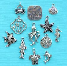 Marine Life Charm Collection 12 Tibetan Silver Tone Charms FREE Shipping E74
