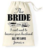 Personalised Wedding Day Gift Bag Bride Wife Present Vintage