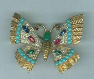 Early Jomaz Joseph Mazer Multi Stone Crystal Enamel Gold 3D Butterfly Brooch Pin