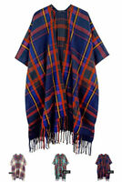 ScarvesMe Women's Cozy Plaid Check Print Kimono Shawl Cardigan Capes Cover Up