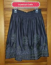 Blue Tassel Collection Silk Tinsel Skirt silver gold embroidering lined sz L