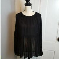 Zara Women's Peasant Blouse Size Small Black Sheer Tunic Long Sleeve Boho New