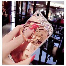 Bling Mirror Diamond Cyrstal Soft Case Cover + Cute Bear Ring Holder Kickstand