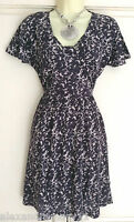 NEW Ex French Connection Navy Blue & Ivory Abstract Print Tunic Dress Size 8-10
