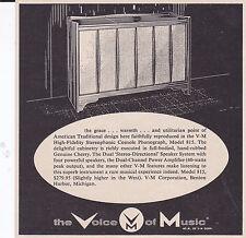 1959 VOICE OF MUSIC PHONOGRAPH MODEL 815  -  ORIGINAL SMALLER PRINT AD