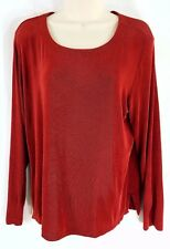 Chico's Travelers Slinky Long Sleeve Stretch Knit Blouse Top Rust Size 2 Career
