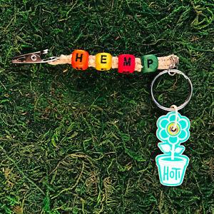 HOTI Hemp Handmade HEMP Orange Yellow Red Green Keychain Roach Clip It Key Chain