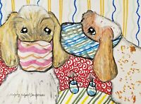 Spinone Italiano in Quarantine 5x7 Dog Art Print Signed by Artist KSams