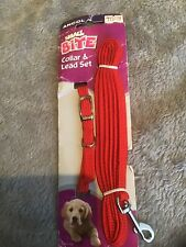 PUPPY/SMALL DOG  RED ADJUSTABLE COLLAR AND LEAD SET
