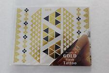 Temporary tattoo Geometric Metallic gold+black flash - festive boho chic 4.5X6
