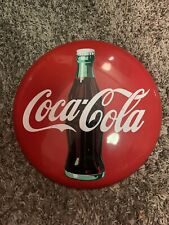 "Vintage 1990 Coca-Cola Company Classic Red Metal Coke Button Sign 12"" Round Tin"