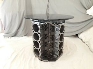 Man Cave V8 Engine Block End Table Automotive Furniture Side Coffee