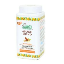 Snake Brand Prickly Heat Cooling Powder Wild Thanaka Anti-Acne Brighter 50 g.