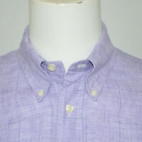 BROOKS BROTHERS Slim Fit 100% Linen Lilac Plaid Long Sleeve Casual Shirt Sz M