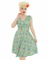 Lindy Bop 'Dawn' Blue Blossom Bird Print Swing Dress Size UK 10 DH097 BB 10