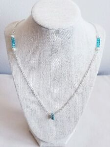 NEW!! Silver Plated Chain With Pearl's And Glass Cube Beads & FREE SHIPPING!