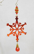 """Red Metal Faceted Jewel STAR SNOW FLAKE Christmas Ornament Mobile Decor 9"""""""