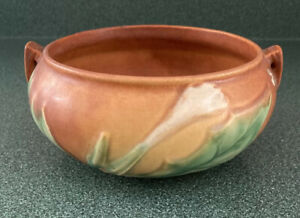 Vintage Roseville Pottery Thornapple Blossom Tan Brown Green Bowl 306-5