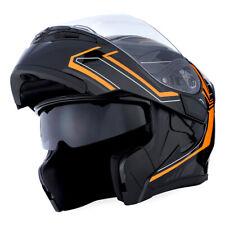 1Storm Motorcycle Modular Flip up Full Face Helmet Dual Visor Arrow Orange