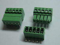 20 pcs Screw Terminal Block Connector 3.5mm Angle 5 pin/way Green Pluggable Type