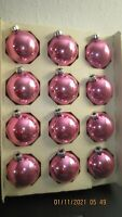 12 PINK  VINTAGE GLASS CHRISTMAS TREE ORNAMENTS  Made in USA  2 1/4""