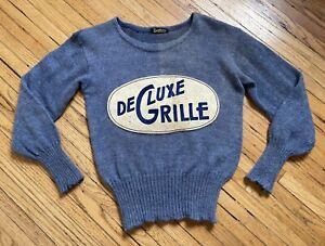 Vintage 1930s 1940s De Luxe Grille Sweater, Sportswear Knit Pullover. Workwear
