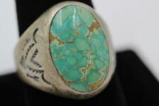 VINTAGE NAVAJO STERLING SILVER & TURQUOISE ARROW DESIGN SIZE 10.5 MENS RING