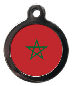 Pet ID tag MOROCCO Flag Picture design personalised