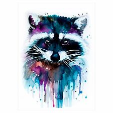 Watercolour Temporary Tattoo Stickers Body Art Waterproof Cute Raccoon Animal