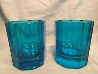"""Vintage Set of 2 (TWO) 9-Panel Sebastian Marcen 4"""" Sapphire Blue Whiskey Glasses"""