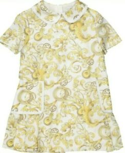 YOUNG VERSACE Girls White & Gold Tone Baroque Silk Dress Age 6 Years RRP £350