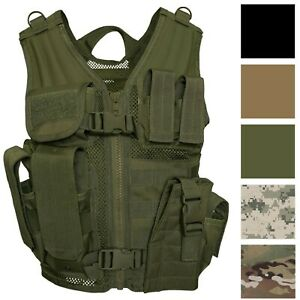 Kids Cross Draw Tactical Vest Camouflage Military MOLLE w/ Holster Pouches