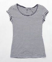 H&M Womens Size S Striped Cotton Blend Grey T-Shirt (Regular)