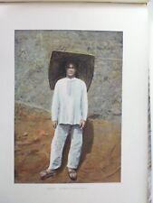 Guyane Francaise/Gravure 19°in folio couleur/ costume de travail d'un mineur