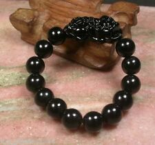 Chinese 12mm Black Agate Beads Dragon Pi Xiu Coin Bangle Feng Shui Bracelet