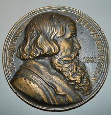 große Bronze Plakette Relief - H.W. Fecht 1881 Julius Koettgen 125 mm 784 Gramm