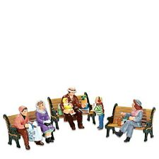 """Dept. 56 Snow Village """"SITTING IN THE VILLAGE"""" ~ Set Of 6 ~ Benches Non Included"""