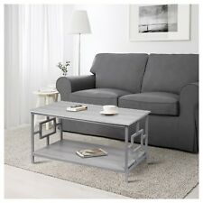 Rectangular Coffee Table with Lower Storage Shelf - Oak Color with Gray Frame