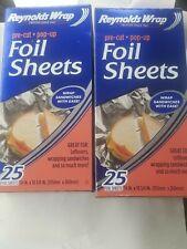 2 Reynolds Wrappers Aluminum Foil 25 Pre-Cut Pop Up Foil Sheets  food sandwich