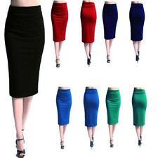 Ladies Women's Plain Office Work Pencil Stretch Jersey Bodycon Mini Midi Skirt