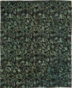 Modern European Inspired Tibetan Green, Blue and Black Wool Rug N11425