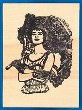Woman with Lace Parasol & Gloves Rubber Stamp - Umbrella Fashion by Stamp Affair