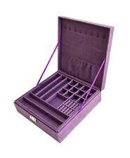 Sodynee JB2-25 Purple Two-Layer Lint Jewelry Box Organizer Display Storage Ca...