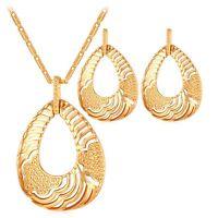 Damen Schmuckset Gold Halskette Ohrringe Ohrstecker Kette Anhänger Collier Damen