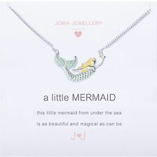 Joma Jewellery Girls a little Mermaid CHILDRENS silver plated necklace, gift bag