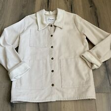 Conscious Clothing Homestead Jacket Small Ivory Organic Cotton Canvas Snap Front