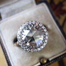 Luxury 925 Silver Round Moissanite Gemstone Ring Women Engagement Party Jewelry