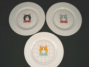 "Set of Three Decorative ""CAT"" Plates Each Has on a Different Color Bow Tie"