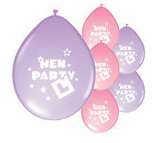 "10 x ""HEN PARTY"" LIGHT PINK & LILAC MIX BALLOONS (PA)"